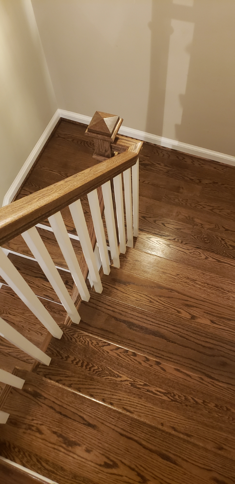 Oak Stairway with White Balusters