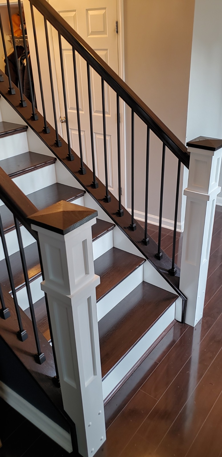 Stairway Remodel - White Posts with stained wood