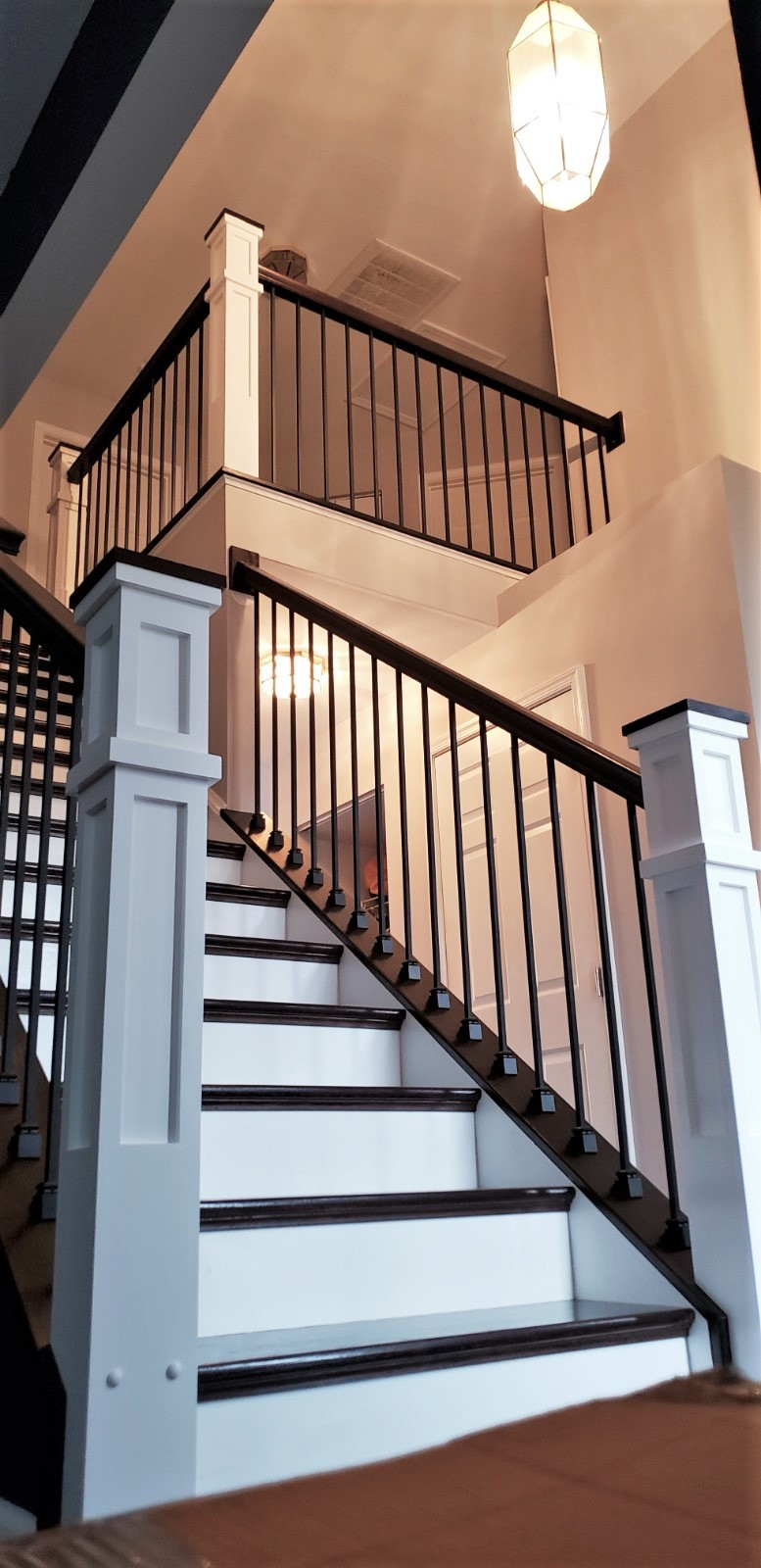 Stairway Remodel - White Posts stained rails
