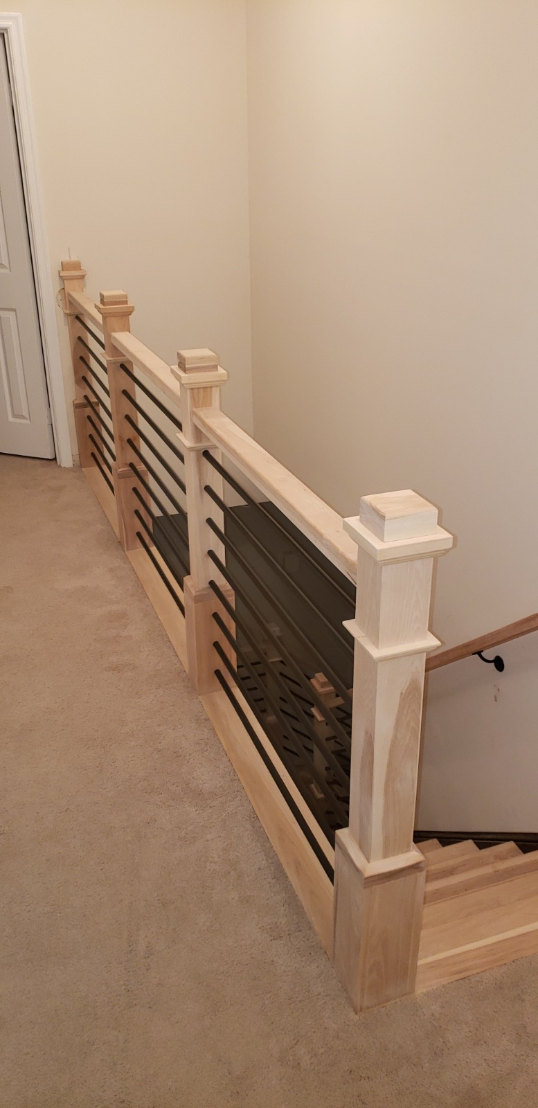 Hickory Stairs with Horizontal Metal Balusters