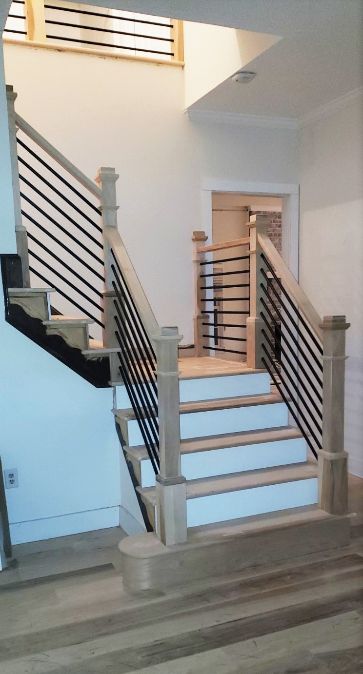 Horizontal Metal Balusters Natural Hickory Stairs