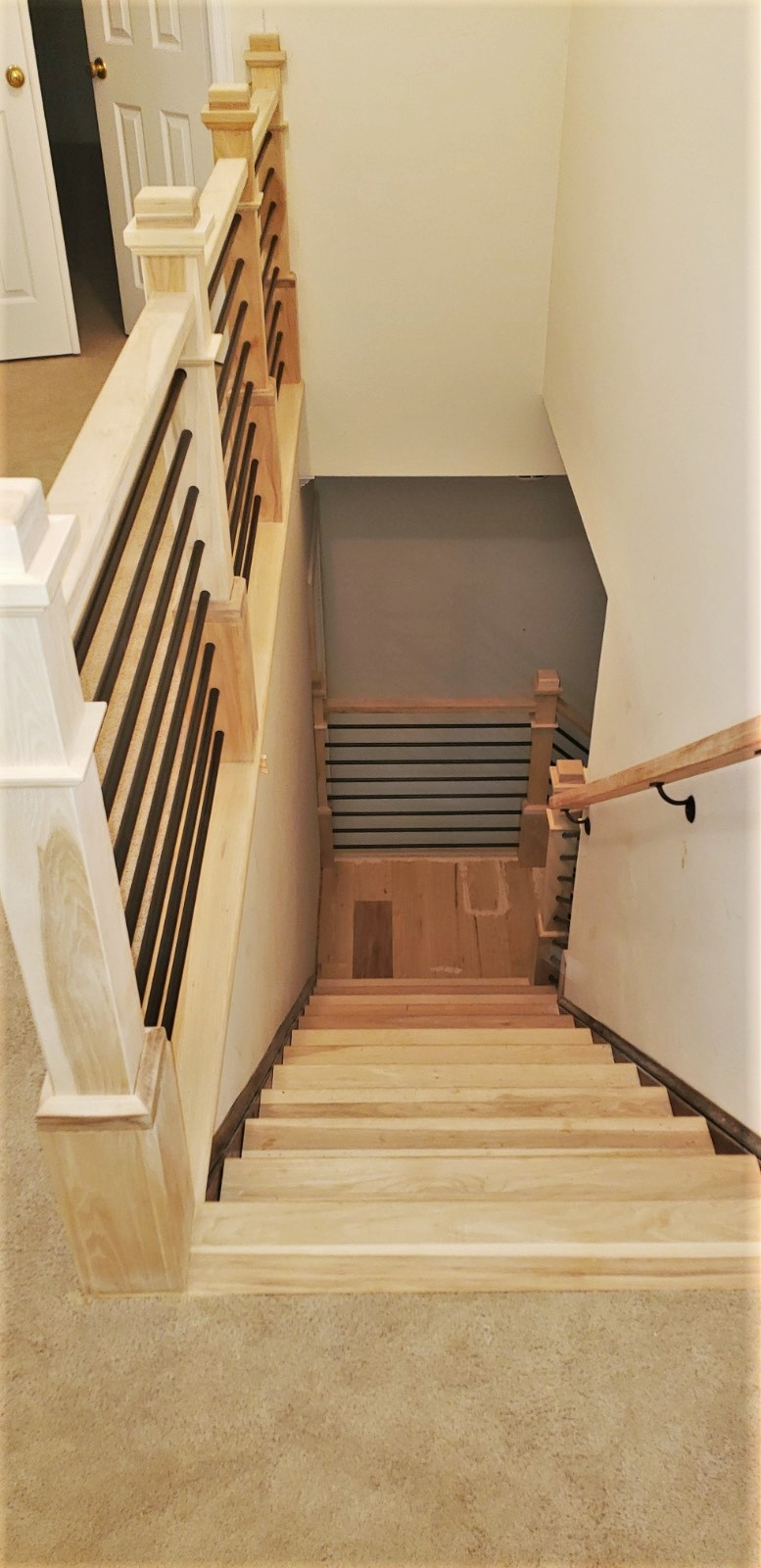 Hickory Stairs with Metal Balusters