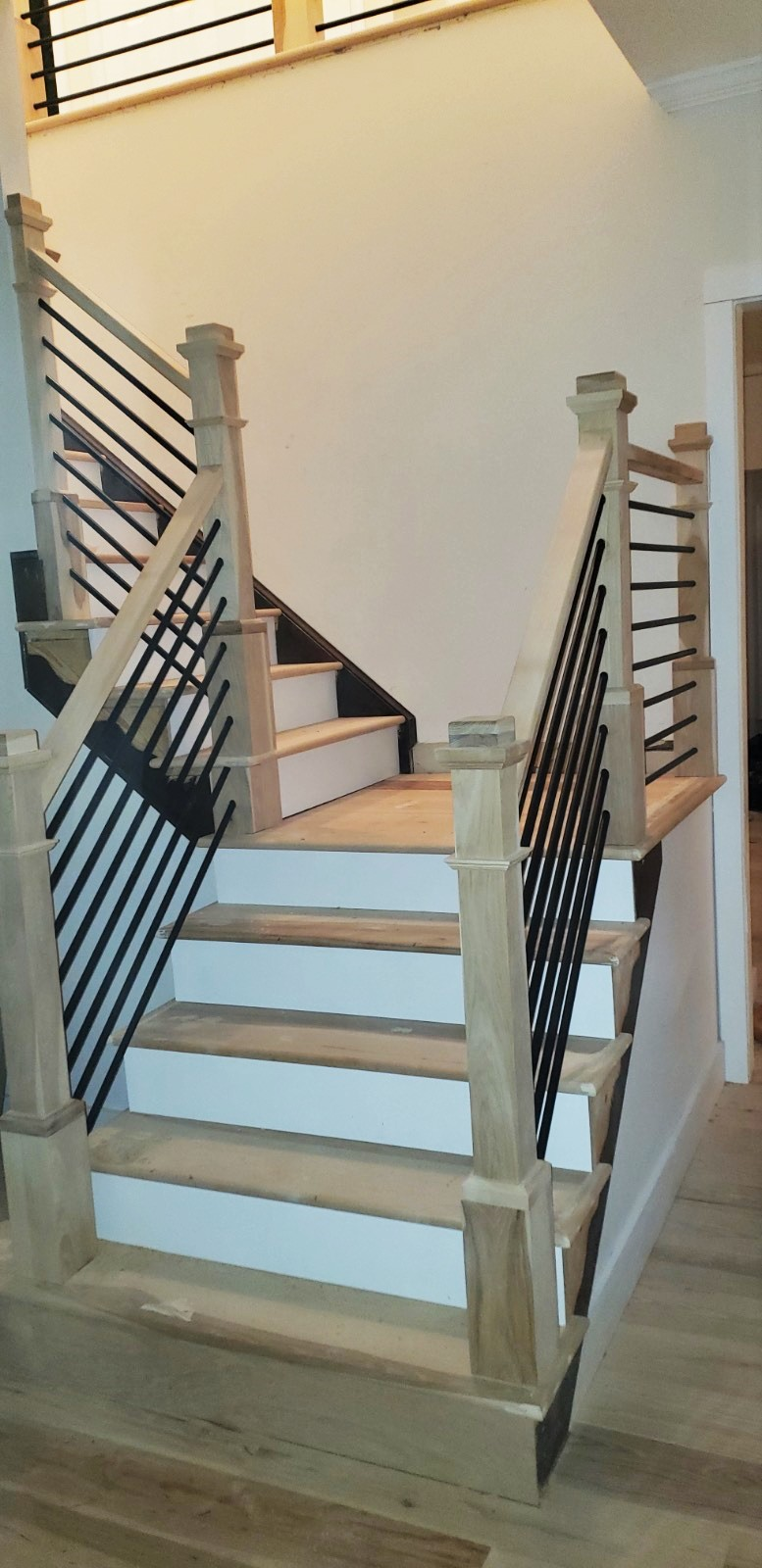 Natural Hickory Stairway with Metal Balusters